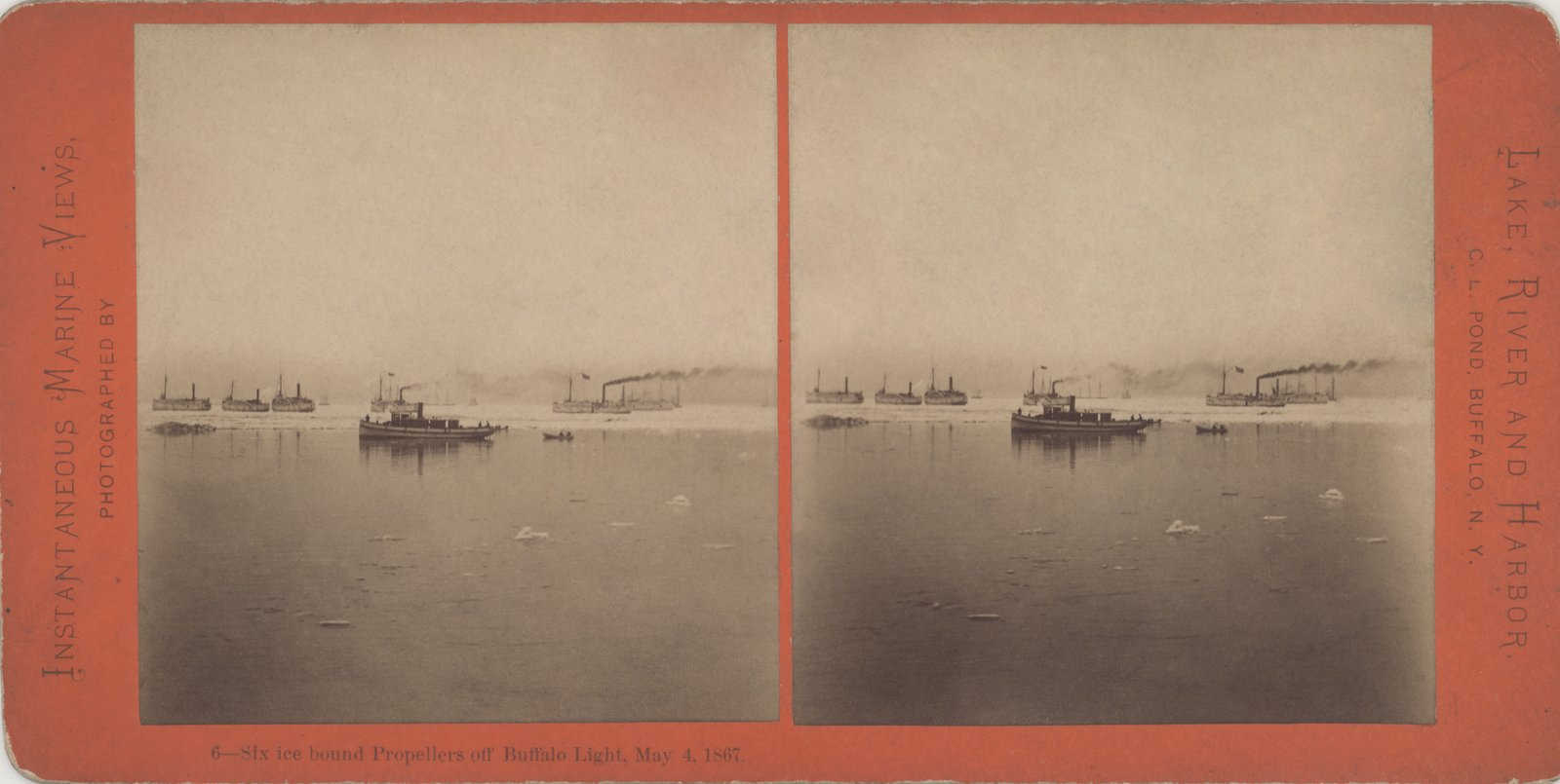 Six ice bound Propellers off Buffalo Light, May 4, 1867.
