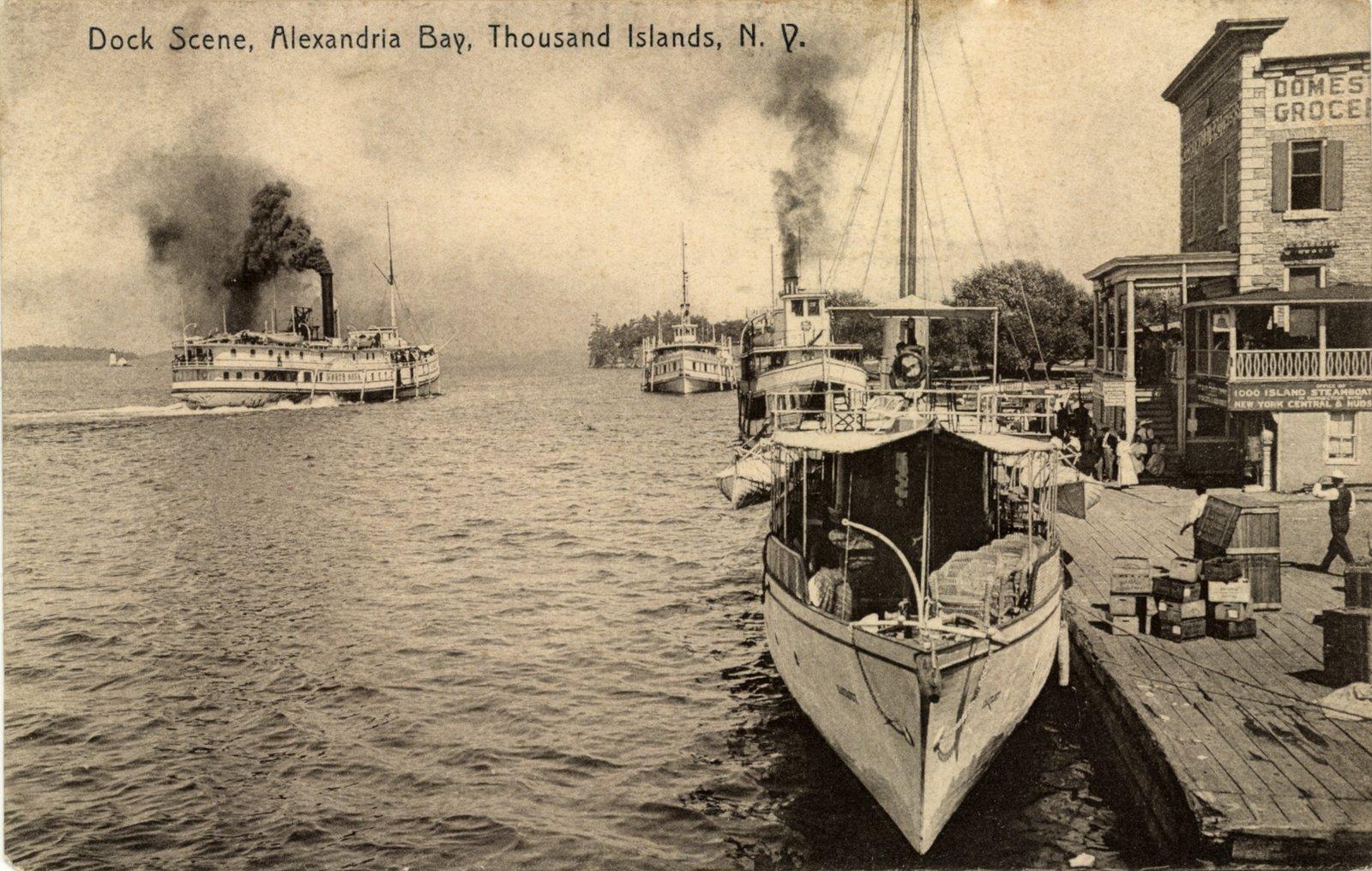 Dock Scene, Alexandria Bay, Thousand Islands, N. Y.
