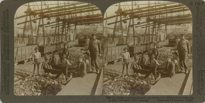 Docks, switchyards and 1-tons buckets for lifting iron ore from ships to cars, Cleveland, Ohio