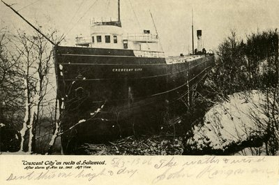"""Crescent City"" on rocks at Lakewood, After storm of Nov 28 1905. Aft view"