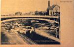 Lockport, N.Y. Pine Street Bridge. Canal Locks Gate Opening