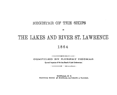 Register of the Ships of the Lakes and River St. Lawrence