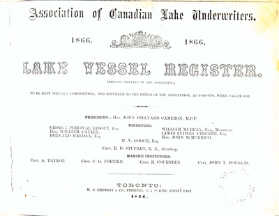 Lake Vessel Register, 1866