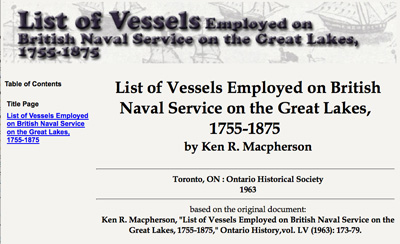 List of Vessels Employed on British Naval Service on the Great Lakes, 1755-1875