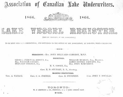 Lake Vessel Register, 1866