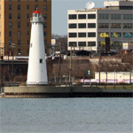 Detroit River waterfront panorama; from Tri-Centennial Lighthouse to MacArthur Bridge (Belle Isle)