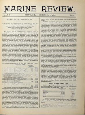 Marine Review (Cleveland, OH), 12 Sep 1895